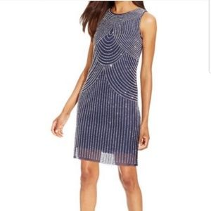 NWOT Joanna Chen Blue Beaded Cocktail Dress
